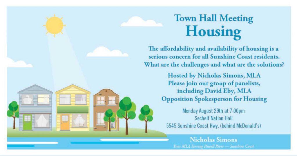 Housing Town Hall with MLA Nicholas Simons @ Sechelt Nation Hall | Sechelt | British Columbia | Canada