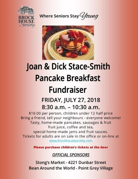 Joan & Dick Stace-Smith Pancake Breakfast Fundraiser for Brock House @ Brock House | Vancouver | British Columbia | Canada